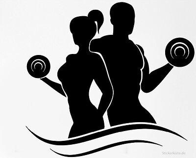 Gym Bodybuilding Hantel Fitness Wandtattoo Wallpaper Wand Schmuck 69 x 55 cm
