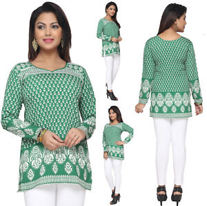 UK-STOCK-Women-Fashion-Green-Short-Kurti-Kurta-Tunic-Top-Shirt-Dress-142D