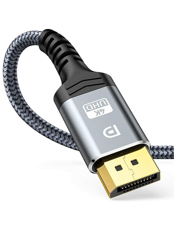 4K DisplayPort Cable 3M DP to DP 4K@60Hz,2K@144Hz High Speed Nylon Braided, Grey