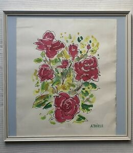 Alexander-Thiele-b1924-large-original-signed-water-colour-painting-Roses