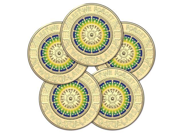 5 x 2017 Tri-colour War Memorial Design - Lest We Forget $2 Coin, RAM Bag