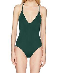 La Blanca Womens Swimwear Green Size 8 V-Neck Plunge Lace Up One Piece $125 653