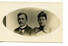 Old Cabinet Photograph of Couple-Made into RPPC-Vintage Real Photo Postcard