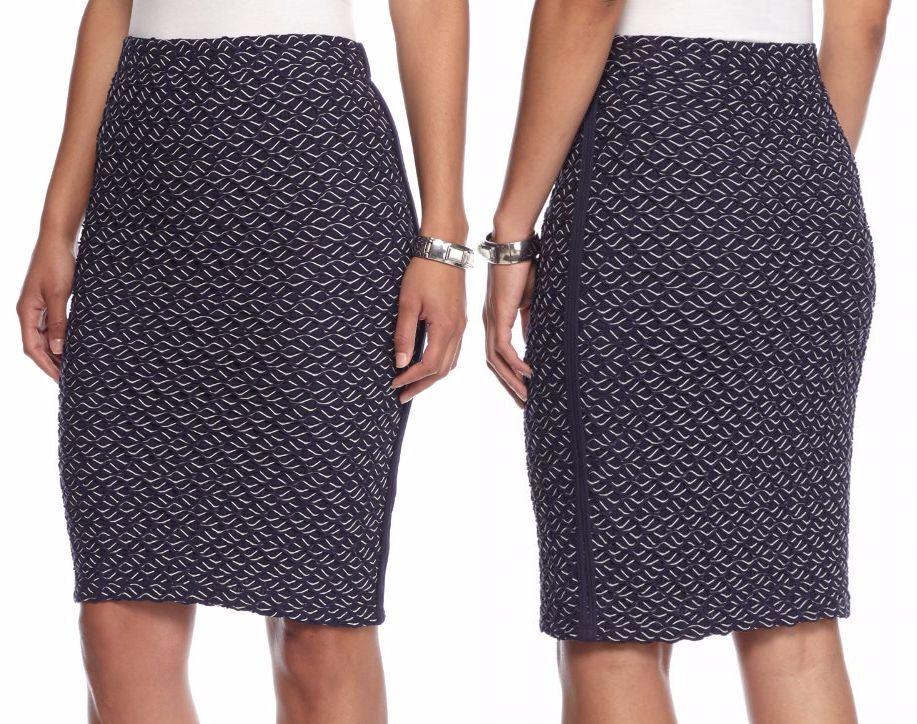 Sophie Max Studio 5B07M10 Navy Wavy Jacquard Stretch Knit Skirt, XS