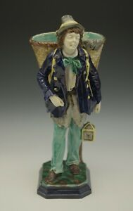 ANTIQUE-HUGO-LONITZ-PRUSSIA-MAJOLICA-FIGURAL-POSEY-HOLDER-HOBO-SCULPTURE-11-034