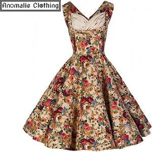 7b0e03df8c5 Details about Lindy Bop Ophelia Beige Floral Swing Dress Vintage 1950s  Pinup Retro Rockabilly