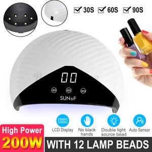 200w 12 led uv nail polish dryer lamp gel acrylic curing