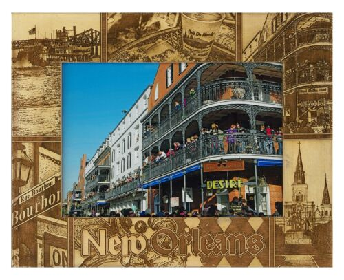 New Orleans Louisiana Laser Engraved Wood Picture Frame 5 x 7