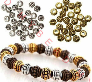 LOT-100pcs-Tibetan-Silver-big-hole-Spacer-Beads-Round-Wheel-Metal-Spacer-Beads