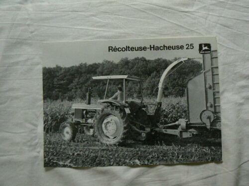 JOHN DEERE  Recolteuse Hacheuse 25 de 1978 catalogue Agricole Prospectus