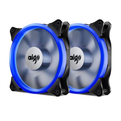 2x Aigo Blue Ring LED 140mm PC CPU Computer Case Cooling Clear Silent Fan Mod