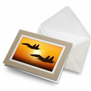 Greetings-Card-Biege-Military-Fighter-Jet-Plane-Sunset-15825