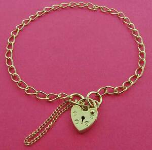 STERLING SILVER CHARM BRACELET ROUND SOLID CURB LINK LOCKET HEART PADLOCK BOXED