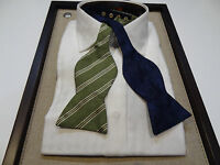 Carrot & Gibb Silk 3 Reversible Bow Tie Solid Navy Blue Paisley Green Stripe