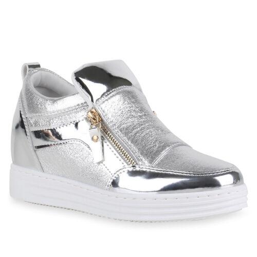 Modische Damen Metallic Sneaker-Wedges Glitzer Turnschuhe 816121 Schuhe