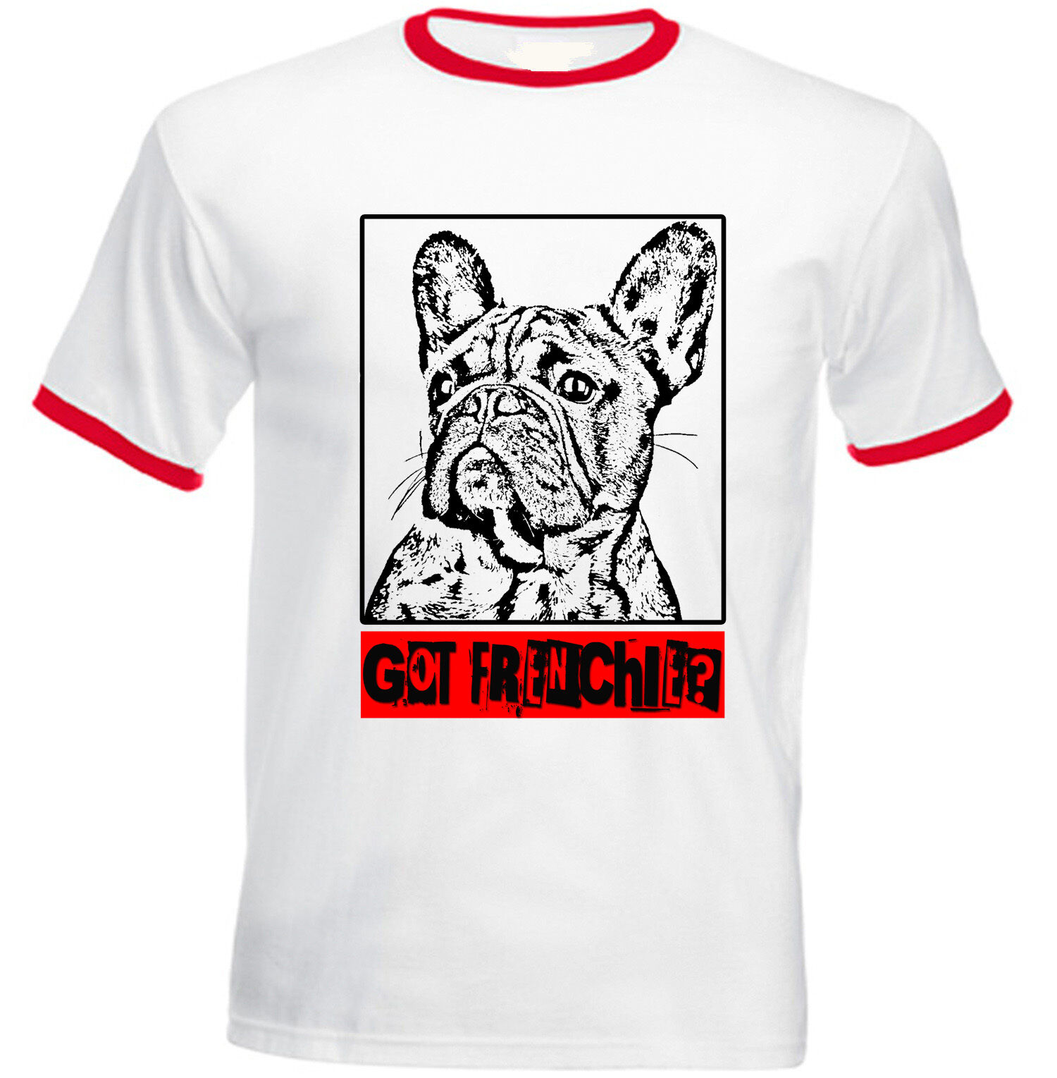 French bulldog a Frenchie-New Rouge Coton Ringer Coton Rouge T-Shirt 429830