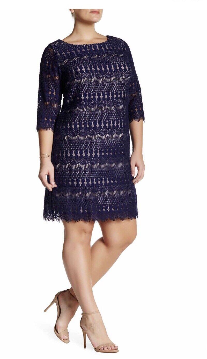 NWT ELIZA J 3 4 Sleeve Navy bluee Lace Shift Dress Plus Size 24W