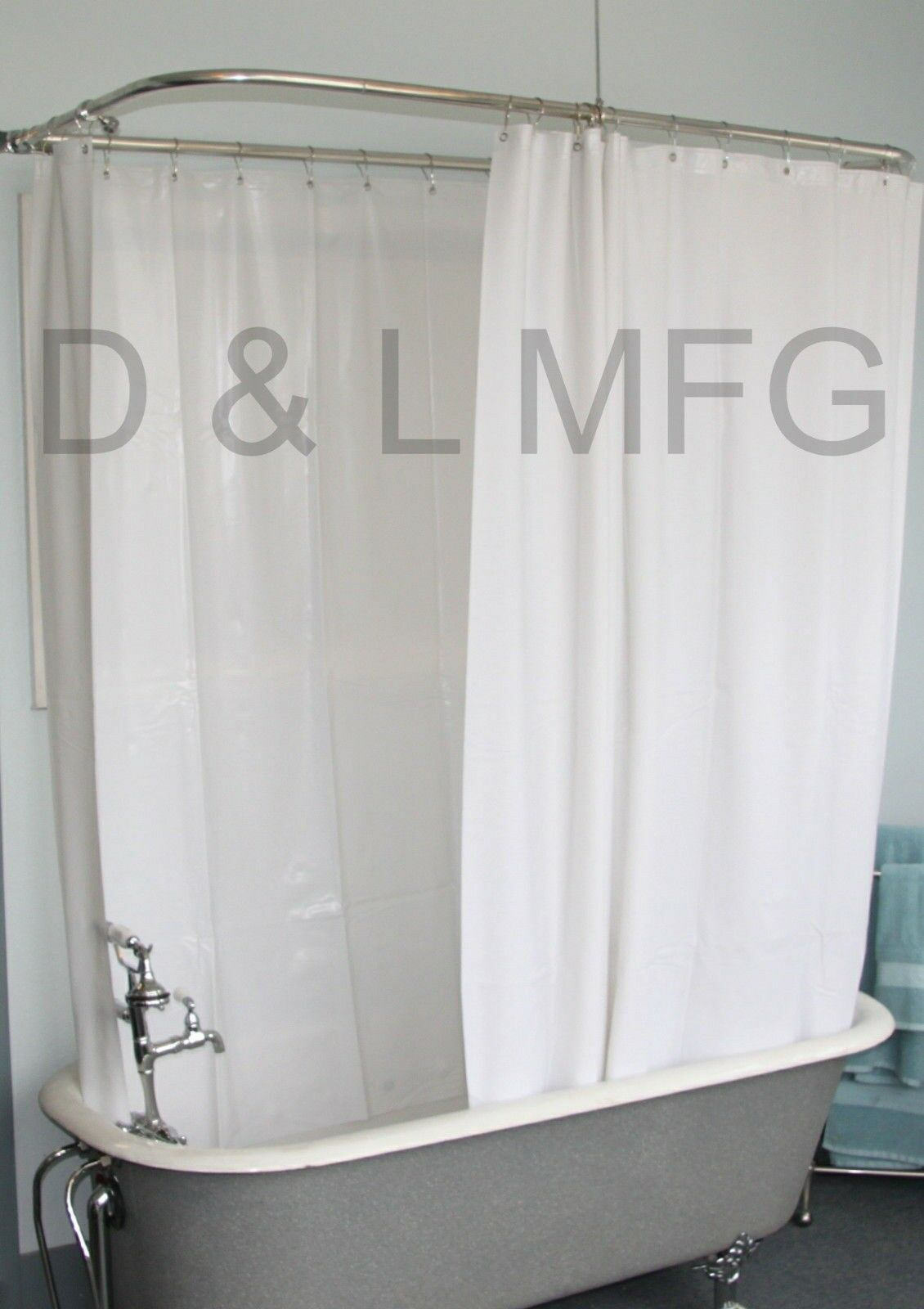 Heavy Vinyl Clawfoot Shower Curtain Extra Large White Without Magnets 180 X 70