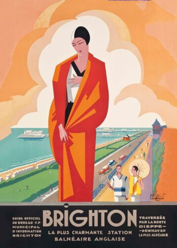 Brighton from Dieppe Art Deco French English Railway Travel Poster France,1921