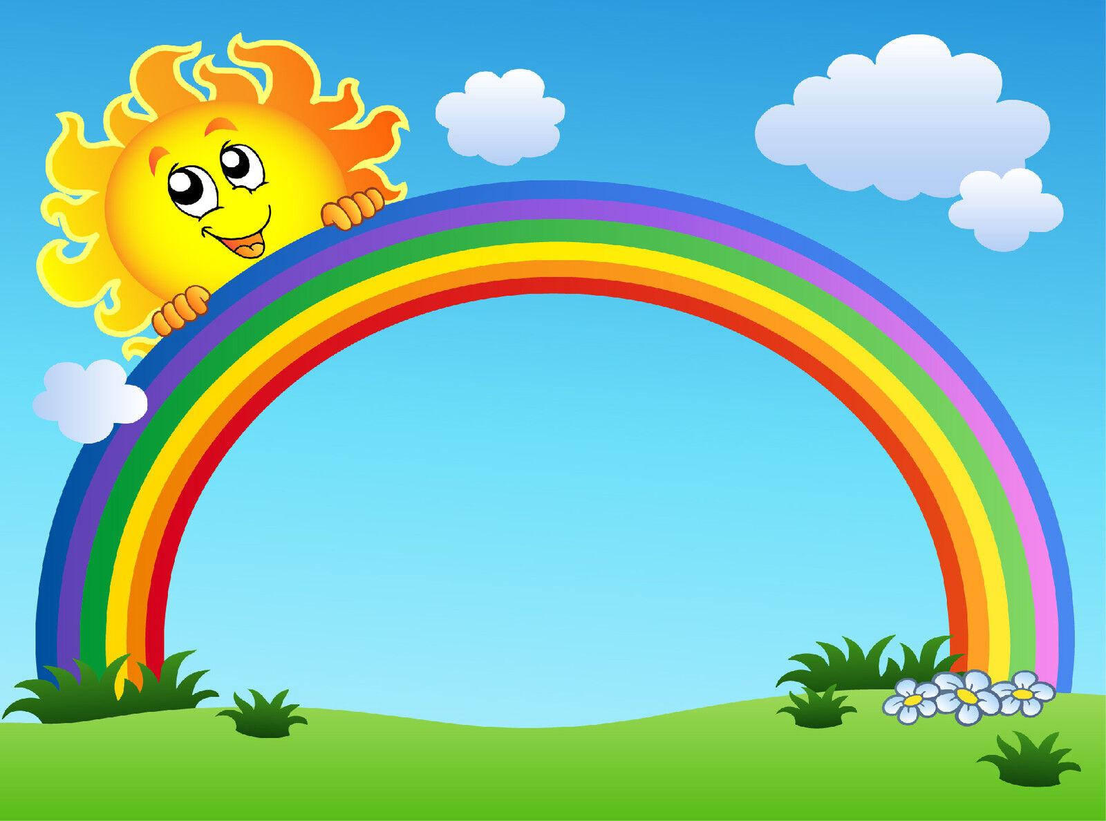 Papier Lackiert Kind Riesig Sonne Regenbogen 622