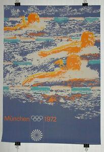 Poster-Plakat-Schwimmen-DIN-A0-Olympiade-1972-Muenchen-Otl-Aicher