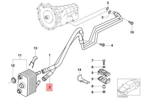 Genuine BMW E53 X5 SUV Transmission Oil Cooler Line Return Hose OEM 17227788269