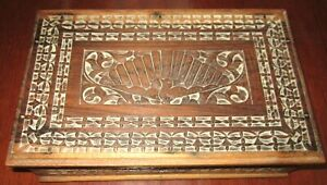 Hand-Carved-Wooden-Jewelry-Box-with-Tray-Stylised-Peacock-Design-Trinket-Tray
