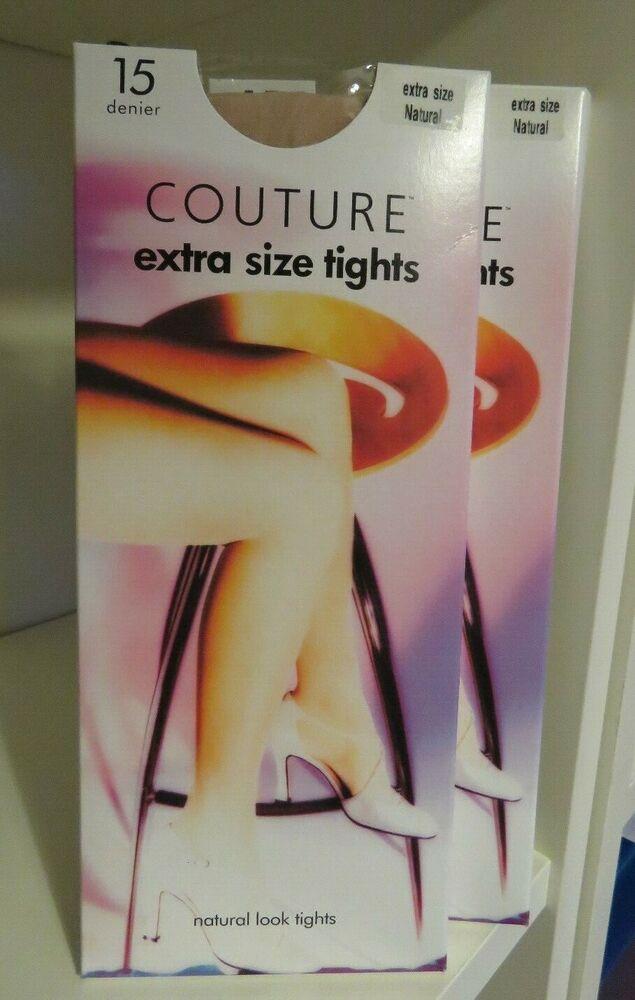 2 Paires Couture Extra Taille Look naturel Collants 15 deniers presque noir