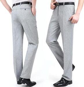Summer Mens Flax Linen Thin Dress Formal Long Pants Business Trouser Size 29-40