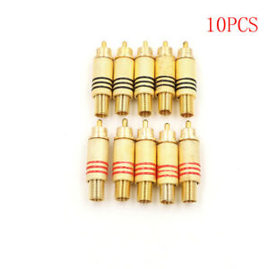 10pcs-RCA-Connector-Male-Jack-Plug-Audio-Vedio-Welding-Gold-Red-Black-HF