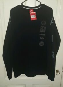 edcc8f347d8 Nike Men s Air Fleece Totem Crew Sweatshirt Black 806659 010 Size ...