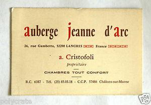 Carte De Visite Auberge Hotel Restaurant Jeanne D