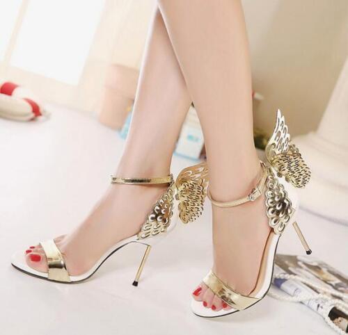 Femmes papillon ailes talons hauts bride cheville femme talon aiguille fête sandale chaussures