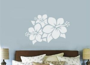 Hibiscus Flower Vinyl Decal Wall Sticker Teen Bedroom Decor Hawaiian