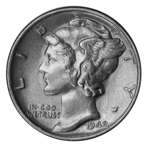 SP 1942 AU Almost Uncirculated 90/% Silver US Coin D  Mercury Dime 10c