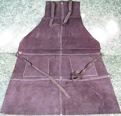 Black All LEATHER WORK SHOP APRON with 2 POCKETS Heavy Duty Thick Big Long Ties