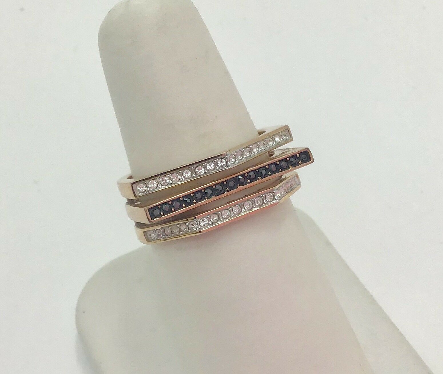Fine Crystal pink gold Plated Geometry Ring, UK R.5, USA 9, RRP