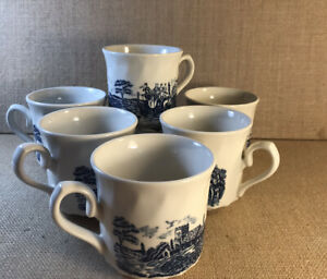Blue-And-White-China-Coffee-Cups-Set-Of-6-Unbranded-Made-In-England