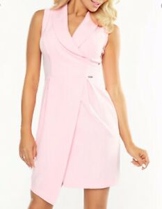 NUMOCO-SIZE-L-12-AU-PASTEL-PINK-WRAP-SLEEVELESS-DRESS-BNWT