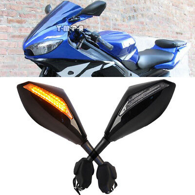Motorcycle LED Turn Signals Racing Side Mirrors For Suzuki GSX-R600 2003-2016 MT