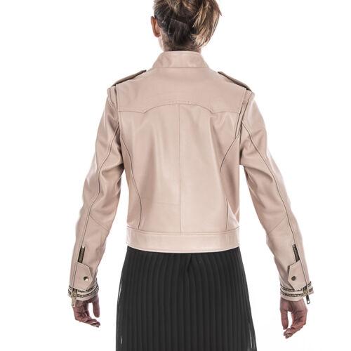 Women Leather Handmade Beige Jacket Lambskin Biker Italian Bwgq56p