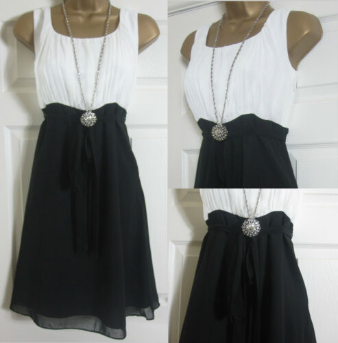 NEW YESSICA VINTAGE STYLE SUMMER TEA PARTY DRESS BLACK WHITE CHIFFON SZ 6-20