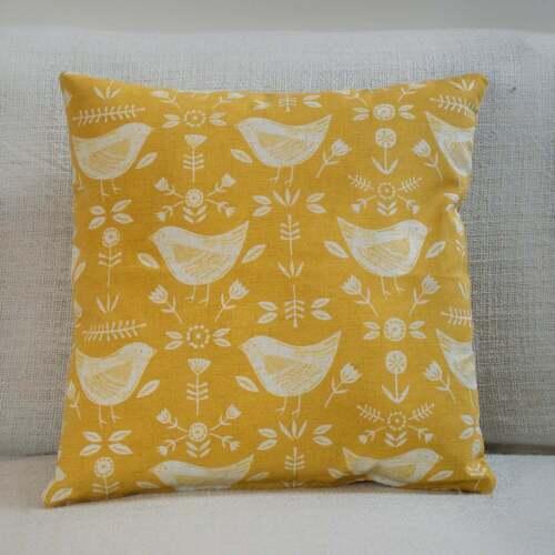 Ochre Mustard Yellow Double Sided Scandi Style Birds Cushion Geometric Floral