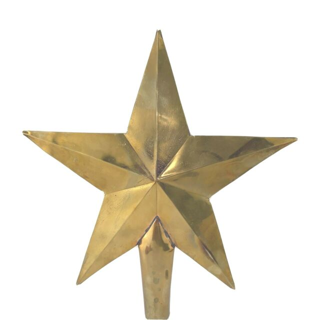 Pottery Barn Christmas Brass Star Tree Topper Shiny