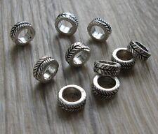 Set of 10 mini silver tone alloy dreadlock hair braid beard beads 4.5mm hole