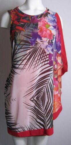 UK SIZE 8 NEW LIPSY TROPICAL PRINT LAYERD CHIFFON FRONT BODYCON DRESS
