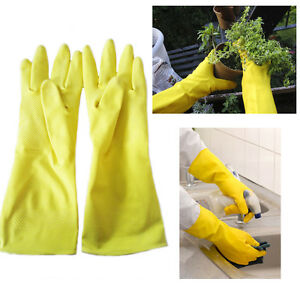 Rubber Gloves Cleaning Washing Dish Long Sleeve Waterproof Kitchen Garden L M Xl Yard, Garden & Outdoor Living Household Supplies & Cleaning