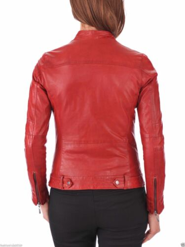 Fit Biker Slim Real Women's Lambskin Motorcycle Red Leather Soft Jacket H84gwqz