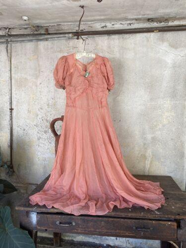 Antique 1930s Pink Silk Chiffon Puff Sleeve Dress