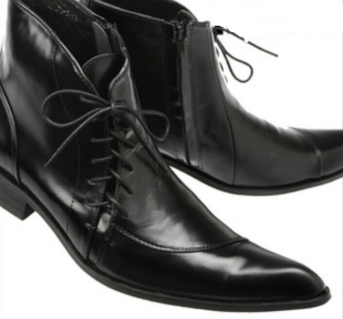 Fashion Mens High Top Pointy Toe England Style Business Real Leather Ankle Boots